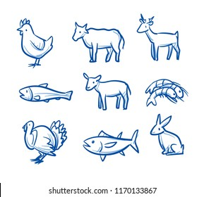 Cute cartoon animal food icon set e.g. for cat or dog food. With chicken, cow, fish, lamb, turkey, rabbit, tuna, salmon and shripms icons. Hand drawn doodle vector illustration.