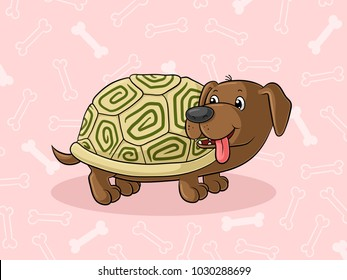 Cute cartoon animal fusion with a turtle and a dachshund