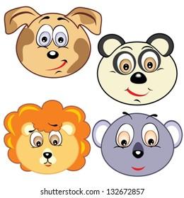 cute cartoon animal head icons