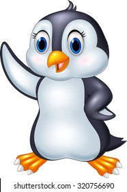Cute cartoon animal penguin waving isolated on white background