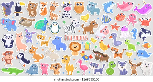 Cute cartoon animal stickers. flat design