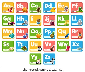 Cute cartoon animals alphabet for children education. Vector illustrations with descriptions. All elements are isolated. Letters and words. Flora, fauna, animals. Learn to read.