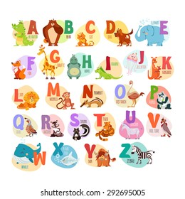Cute cartoon animals alphabet for children education. Vector illustrations
