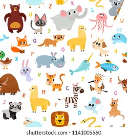 Cute cartoon animals alphabet pattern for children education isolated on white. Vector seamless used for kids magazine, children book, textile.