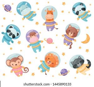 Cute cartoon animals astronauts. Vector illustration on white background.