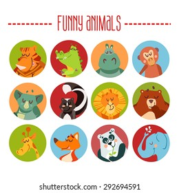 Cute cartoon animals avatars. Vector illustration