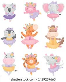 Cute cartoon animals in ballerina dresses. Vector illustration on white background.