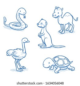 Cute cartoon animals for children as  camel, snake, ostrich, turtle and meerkat. Hand drawn doodle vector illustration.