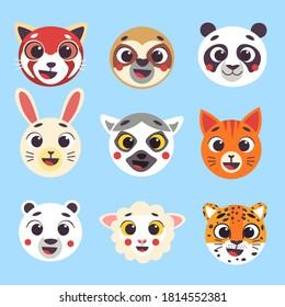 Cute cartoon animals faces set part 2. Isolated vector illustration. Red panda, sloth, panda, hare, lemur, cat, polar bear, sheep, jaguar heads nursery decor.