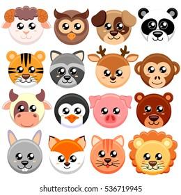 Cute cartoon animals head round shape.  Bear, cat, dog, pig, rabbit, cow, deer, lion, sheep, tiger, owl, panda, raccoon, monkey, penguin, hare, fox