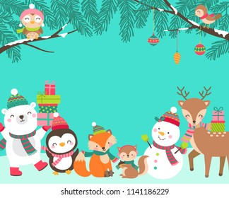 Cute cartoon animals illustration with copy space for christmas and new year card template