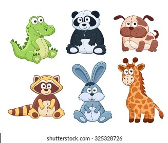 Cute cartoon animals isolated on white background. Stuffed toys collection. Vector illustration of adorable plush baby animals. Crocodile, panda, dog, raccoon, bunny, giraffe.