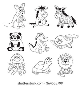 Cute cartoon animals isolated on white background. Stuffed toys set. Cartoon animals outline collection. Funny baby animals contours for coloring books.