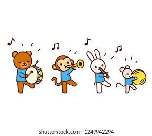 Cute cartoon animals marching band drawing. Kawaii animal characters playing music, isolated vector illustration.