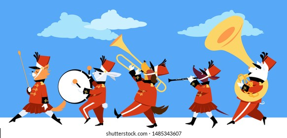 Cute cartoon animals playing instruments in a marching band parade, EPS 8 vector illustration