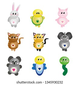Cute cartoon animals - Rabbit, turtle, pig, cat, tiger, elefant, coala, butterfly, snake