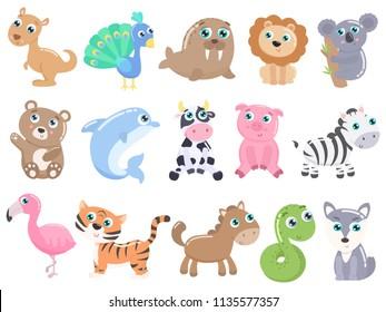 Cute cartoon animals set.