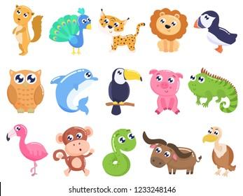 Cute cartoon animals set. flat design