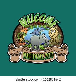 Cute cartoon animals tiger, elephant, lion, hypo, lady bird, leafs, oval shape of wooden sign and wave scroll with zoo theme as amblem, logo or maskhead.