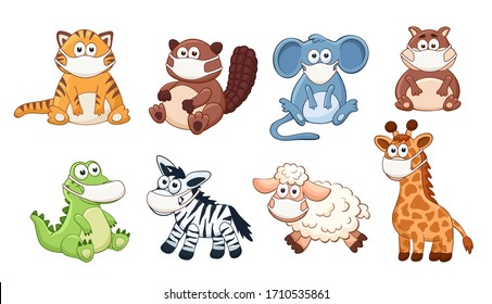 Cute cartoon animals wearing medicine mask vector illustration isolated on white background. Adorable baby animals in protection.