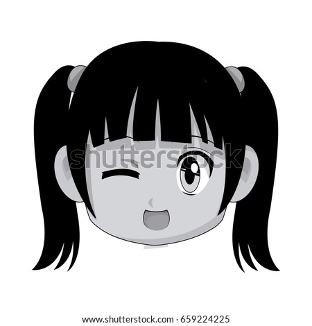 Cute Cartoon Anime Chibi Girl Image Stock Vector Royalty Free