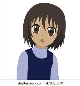 Cute cartoon anime little girl