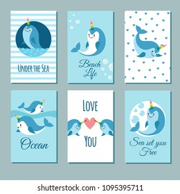 Cute cartoon anime narwhal romance cards. Posters with funny kawaii baby unicorn whale vector characters. Illustration of banner with sea animal template