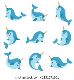 Cute cartoon anime unicorn narwhal. Funny kawaii baby whale vector characters. Animal character swim, aquatic charming and friendly mythical fish illustration