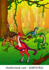 Cute cartoon ankylosaurus and Anzu on the background of forest.