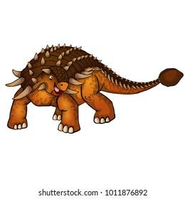Cute cartoon ankylosaurus. Isolated illustration of a cartoon dinosaur.