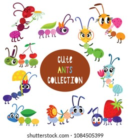 Cute cartoon ants set. Funny characters set for your design in different poses. Colorful detailed vector Illustrations isolated on white background.