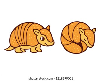 Cute cartoon armadillo drawing, standing and roll up in a ball. Isolated vector illustration.