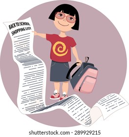 Cute cartoon Asian girl holding a very long back to school shopping list, vector illustration, no transparencies, EPS 8
