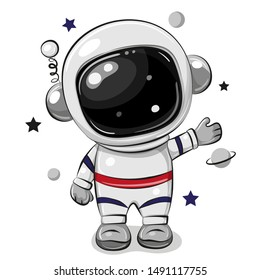 Cute Cartoon astronaut isolated on a white background