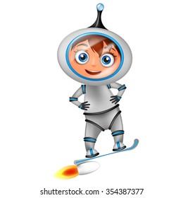 Cute cartoon astronaut surfing on jet board isolated