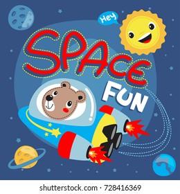 Cute cartoon astronauts teddy bear riding a spaceship in space illustration vector.