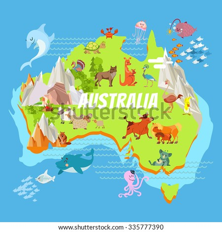 cute cartoon australia continent map landscapes stock vector
