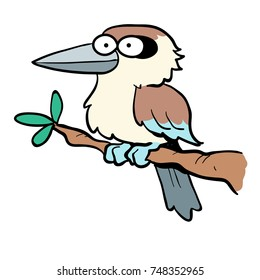 Cute cartoon of Australian animal kookaburra