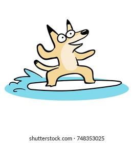 Cute cartoon of Australian animal surfing dingo