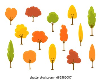 cute cartoon autumn fall trees collection