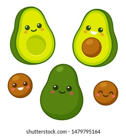 Cute cartoon avocado characters set. Whole avocado, cut in half and pit with funny kawaii faces. Isolated vector clip art illustration.