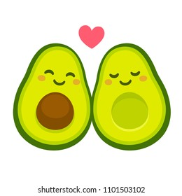 "Cute cartoon avocado couple in love, ""avocuddle"". Two avocado halves with heart, St. Valentines day greeting card drawing. Isolated vector illustration."