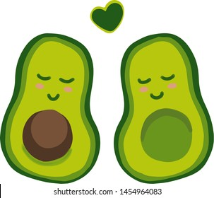 """Cute cartoon avocado couple in love, """"avocuddle"""". Two avocado halves with heart, St. Valentines day greeting card drawing. Isolated vector illustration"""