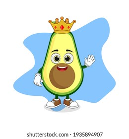 Cute Cartoon Avocado Fruit A Wise King with Gold Crown, Good Design For Fruit Character Theme