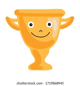 Cute cartoon award cup. Vector illustration