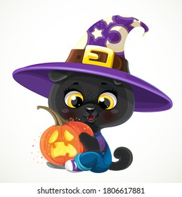 Cute cartoon baby black cat with Halloween pumpkin isolated on a white background