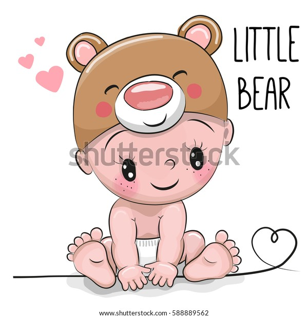 Cute Cartoon Baby boy in a Bear hat on a white background