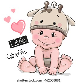 Cute Cartoon Baby boy in a giraffe hat on a white background