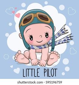 Cute Cartoon Baby boy in a pilot hat