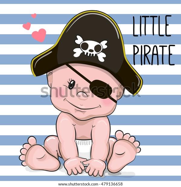 Cute Cartoon Baby boy in a Pirate hat